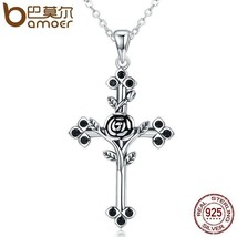 BAMOER Authentic 925 Sterling Silver Rose & Flower Theme Cross Pendant /... - $22.99