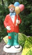"""Emmett Kelly Jr Ceramic 6"""" Hobo Bearded Clown holding Balloons Figurine ... - $17.42"""