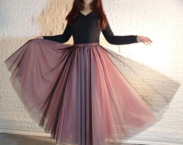 Women Black Pink Long Tutu Skirt Outfit High Waist Tulle Party Skirt Plus Size image 2