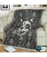 Skull Satanic Pentagram Demon Cat Fleece Blanket Cat Lover Gift Printer ... - $46.98+