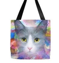Tote bag All over print Cat 612 watercolor digital art painting by L.Dumas - $26.99+