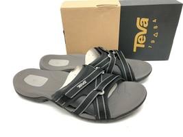 TEVA TIRRA SLIDE SANDALS WOMENS Black 1003990 Slip On Slides Strappy Shoes - $59.99