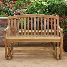 Grade A Teak Glider Bench 4 Feet Long Wood Wooden Sofa Porch Rocking Chair - £204.32 GBP