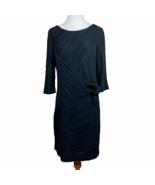 Donna Morgan Sheath Dress 12 Black Tie Waist 3/4 Sleeve Knee Length Offi... - $31.78