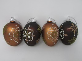 Dept 56 Set Of 4 Glass Egg Ornaments W/TAGS Vtg Jeweled BRONZE/BROWN Snowflakes - $24.95