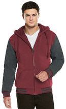 Men's Hooded Soft Sherpa Fleece Lined Varsity Zip Up Two Tone Hoodie Jacket image 9