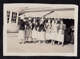 Antique Vintage Photograph Group of Women on Boardwalk Eating Candy Apples? - $5.35