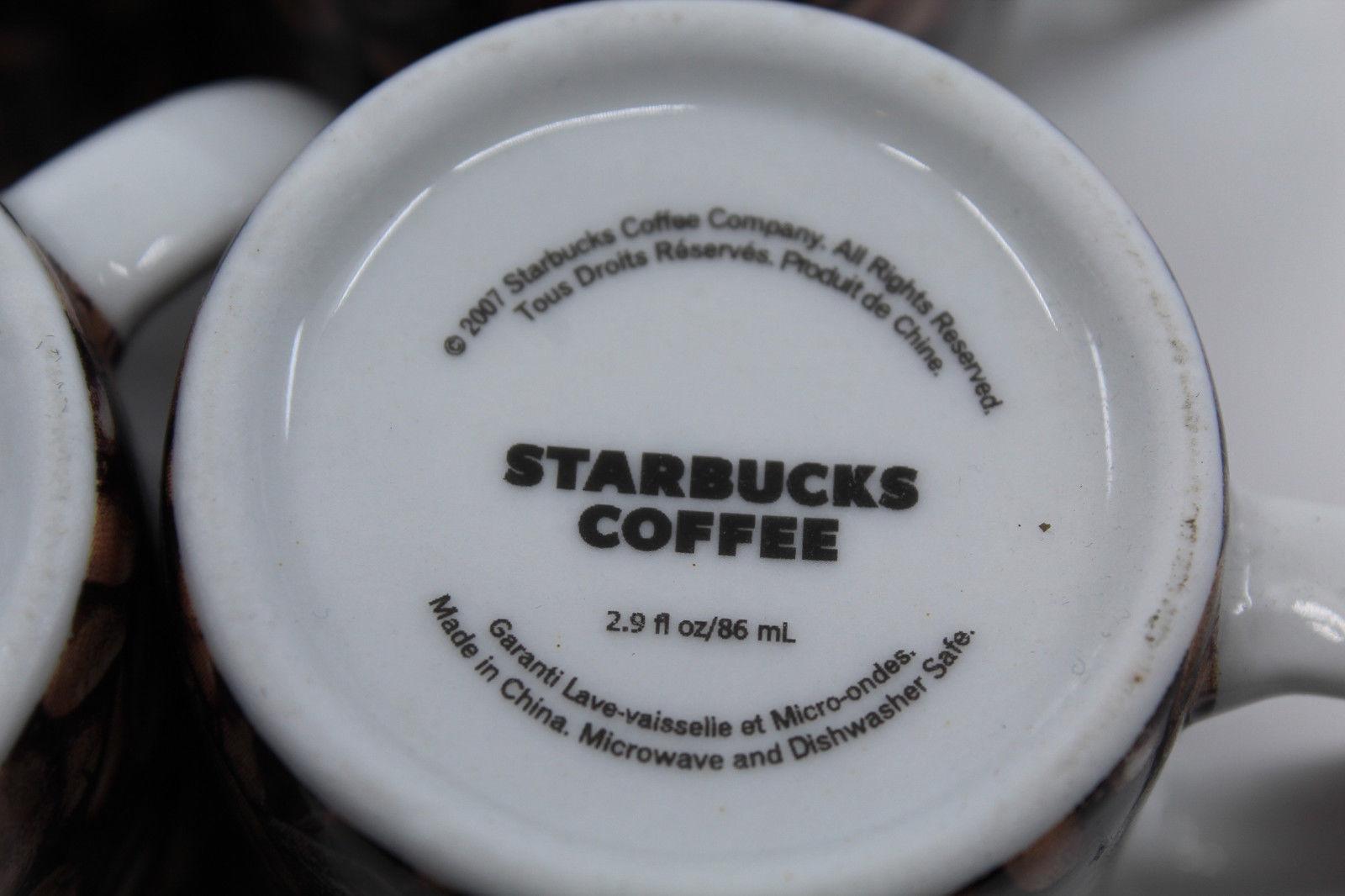 Starbucks Coffee 2007 Espresso Demitasse Mini Beans Mug Cup Set of 4 2.9oz 86ml