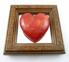 Vintage 1960s 70s Carved Stone HEART Mirror Back & Wood Frame WALL PLAQU... - $126.99