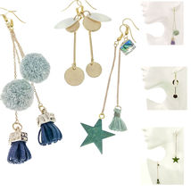 Women Earrings Disc Drop Dangle Hook Pom Ball Wood Tassel Geometric, Set... - $19.95