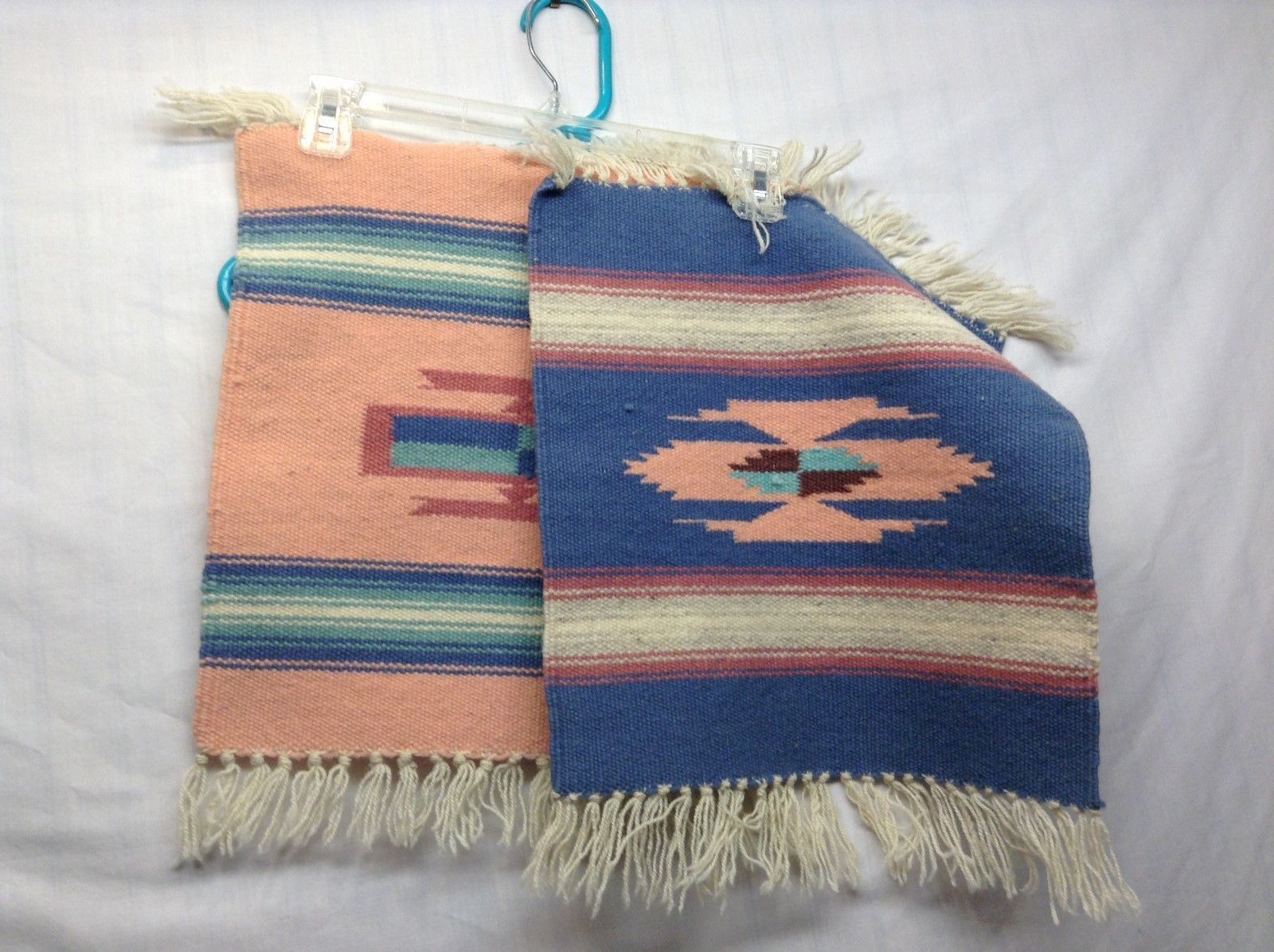 Arizonan Native Rugs/Tablemat in Classic Earth Tones w Fringed Edge Set of 2