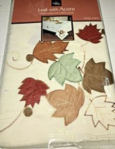 Leaves And Acorns Embroidered Fabric Tablecloth Oblong Seats 4 to 6 Autumn - $25.00