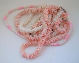 LOT OF 4 VINTAGE SHELL NECKLACES  & 1 BRACELET white pastels boho beach - $11.85