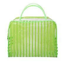Set of 4 Striped PVC Green Waterproof Wash Bag Cosmetic Pouch