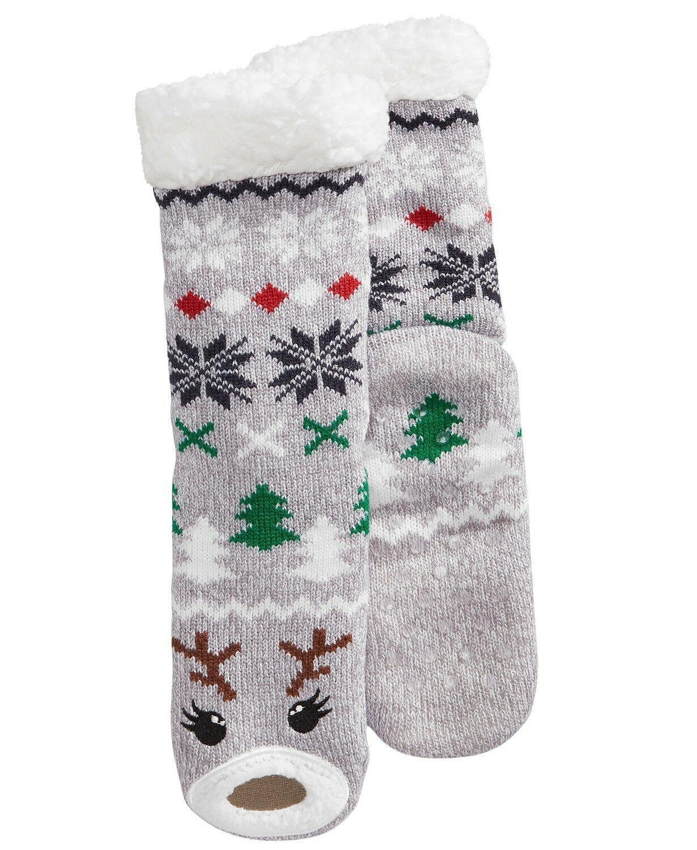 Charter Club Holiday Fleece Gripper Slipper Socks Gray Reindeer