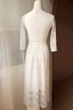 Ivory White Lace Boho Dress long Sleeve Lace Dress Easy Fitted Wedding Dress NWT image 4