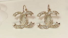 SALE* AUTHENTIC Chanel Gold CC Ribbon Crystal Large Piercing Earrings image 4