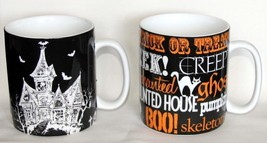 Huge Haunted House Of Fright Or Halloween Words 24 Oz Stoneware Mug New - $14.99