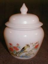 Milk Glass Ginger Jar avon Bird  Flower floral Design  lid - $40.00