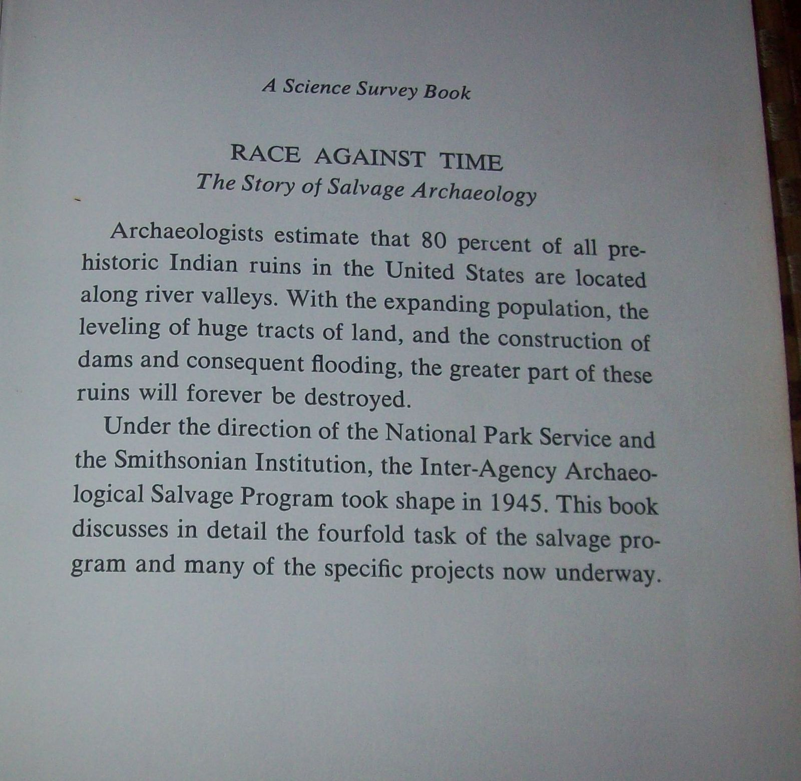 Race Against Time by Gordon C. Baldwin 1966 HBDJ Archaeology