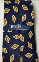 RALPH LAUREN POLO MENS Neck Tie Necktie 100% Silk BLUE YELLOW GOLD HANDMADE - $9.89