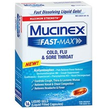 Mucinex Fast-Max Max Strength, Cold, Flu, & Sore Throat Liquid Gels, 16ct - $8.77
