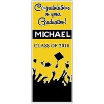 Class of 2018 Graduation Door Banner Black and Yellow Backdrop - £25.05 GBP