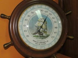 "Vintage Advertising Ship Wheel Thermometer 9"" Peerless Lubricants Co San... - $29.99"