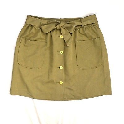 Primary image for TOMMY HILFIGER Classic Khaki Cotton Belted Safari A Line Apron Skirt Sz 10   32""