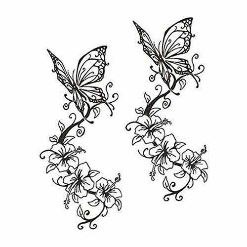Butterfly Tattoos Stickers Fashion Tattoo Design Unisex Fake Body Tattoos Black