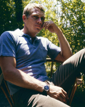 Steve McQueen cool pose circa 1963 seated in chair at home outdoors 16x20 Canvas - $69.99