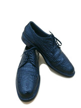 Footjoy Jet Black Sharkskin Wing-tip Derby Golf Shoes Lace Up Sz 9.5 Guc Vintage - $198.00