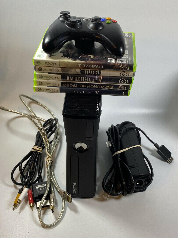 Microsoft Xbox 360 Slim S 60GB Black Console w/ Cables & Controller 5 Games - $109.99