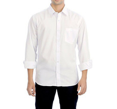 Men's Classic White Long Sleeve Button Up Casual Dress Shirt w/ Defect - M