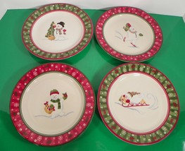 Longaberger Bluster The Snowman Salad Plate (S) Lot Of 4 Different Scenes - $49.45