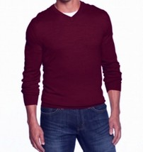 Club Room Men's Red Cherry Merino Wool Blends V-Neck Knit Pullover Sweater - $29.99