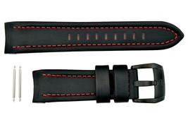 Luminox Space Series 5127 Black/Red Stitch Leather 24mm Watch Band Strap... - $64.95