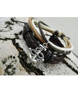 Empowering Jewelry Set of Bracelets Anchor Surfer Tribal Multi-layer Boh... - $3.47
