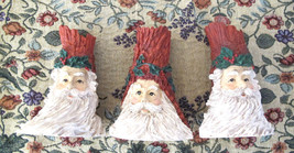 Santa Candle Stick Holders Set 3 St. Nick Christmas Carved Rustic Resin - $24.74