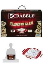 Scrabble Board Game Word Game Deluxe Edition Wheeled Game Board Carry Case - $28.92