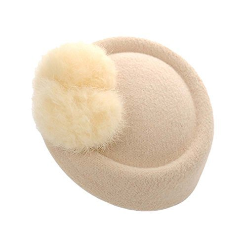 Wool Fedora Hat Small Hat Hairpin Side Clip Hair Accessories, Beige