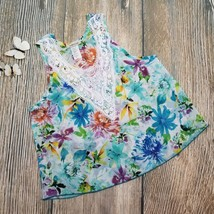 New AMBIANCE sz S sheer tropical floral lace neckline sleeveless tank top - $8.91