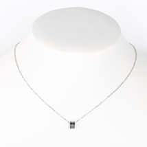 UE-Silver Tone Designer Necklace With Jet Black Inlay & Stacked Circular Pendant - $14.99
