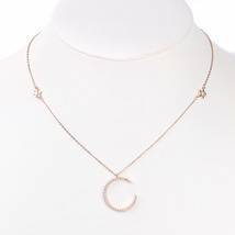 UE-Rose Tone Designer Necklace With Swarovski Style Crystal Moon & Stars Pendant - $17.99