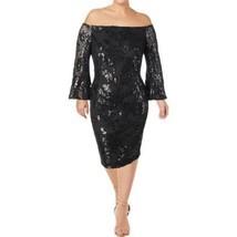 Ralph Lauren Cocktail Party Dress Sequin Sheath Off The Shoulder, 10, Black - $100.00