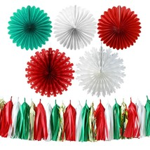 Christmas Party Ball Decoration Kit Paper Folded Lantern Fan Red Green W... - £14.64 GBP