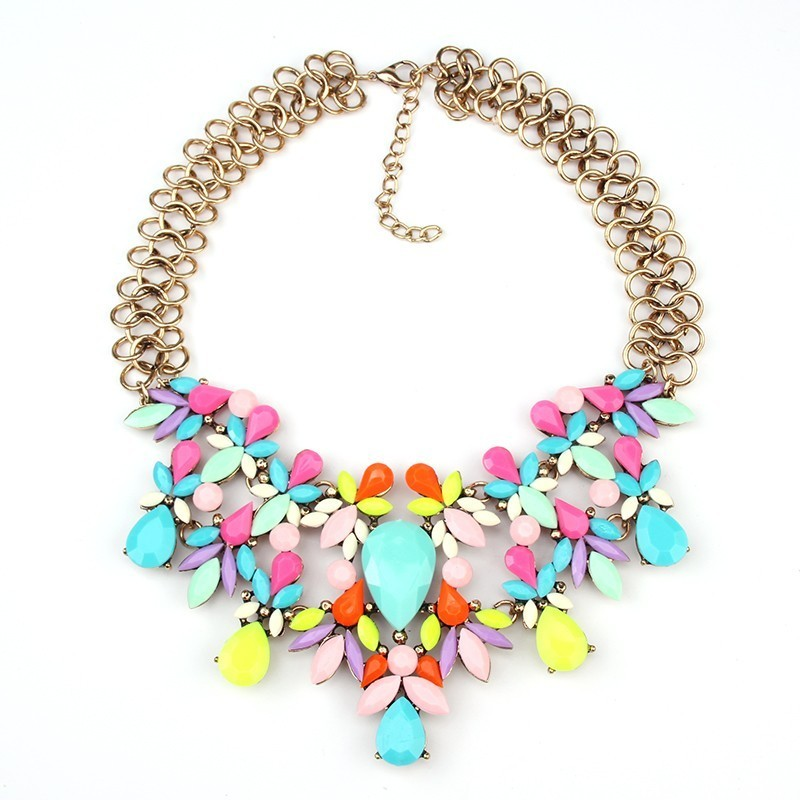 Best lady Women Fashion Luxury Statement Necklace Colorful Flower Boho Maxi Neck