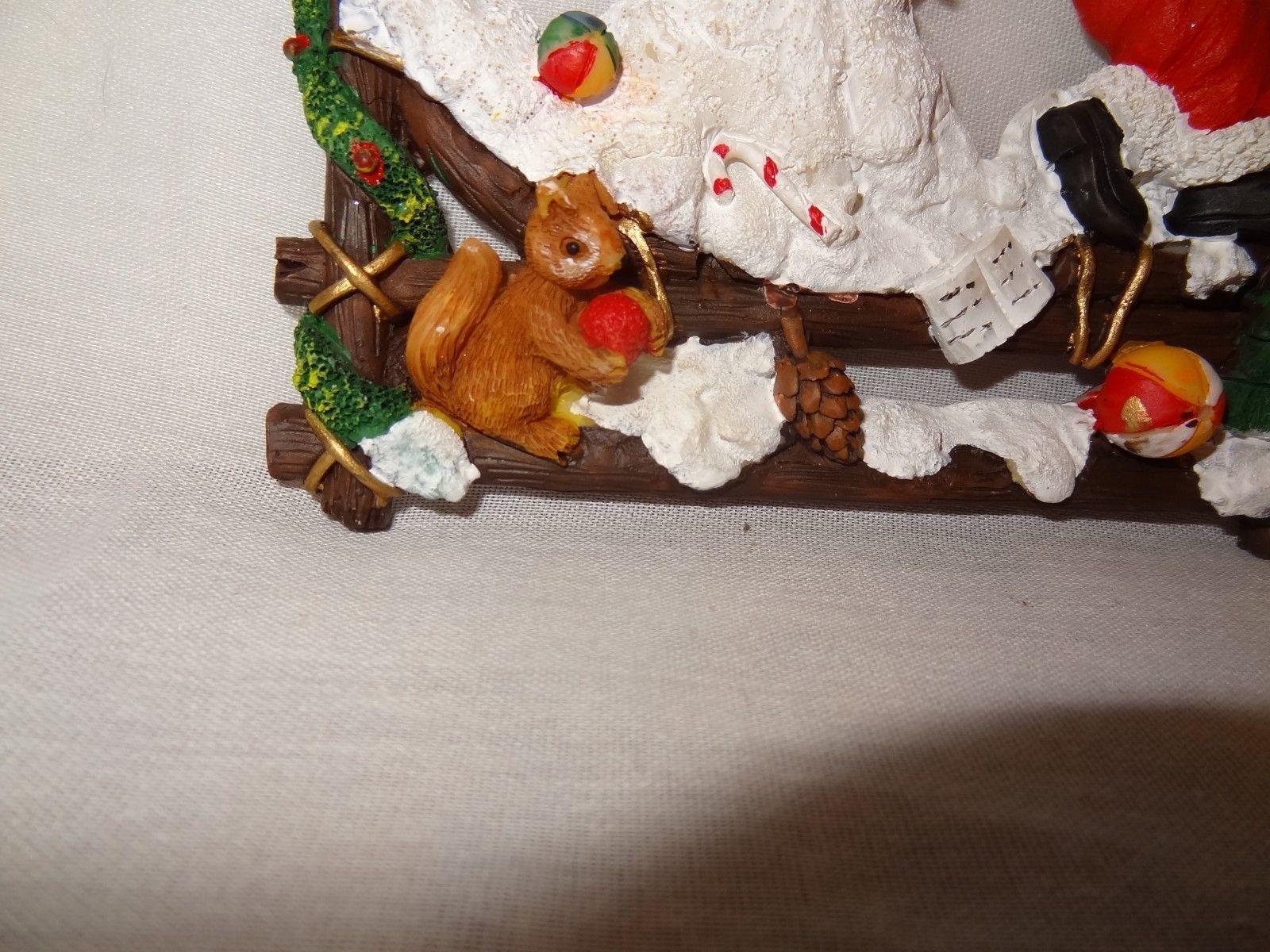"Christmas Wall Hanging Santa Snowman Squirrel Pine Cone Bells Resin 7"""