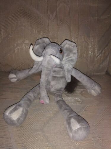 "Primary image for K & M International Elephant Beanbag Plush 12"" Gray Stuffed Animal 1999 Made In"
