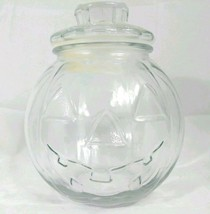 CLEAR Glass Halloween Pumpkin Jack O' Lantern Candy Cookie Jar Canister ... - $14.85